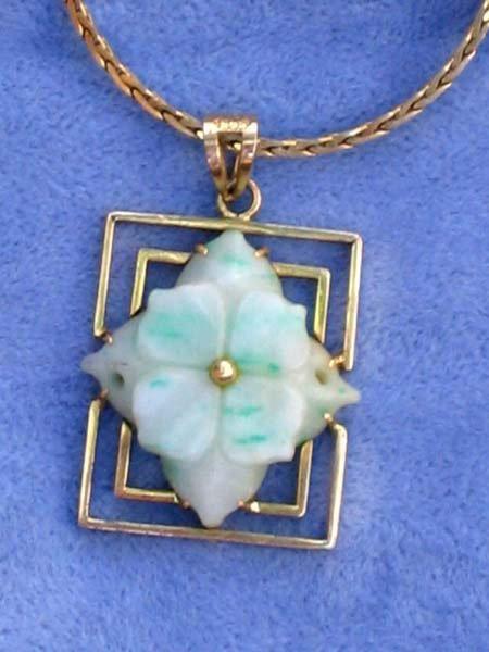 176: 19th Cen Jade 14k Gold Pendant