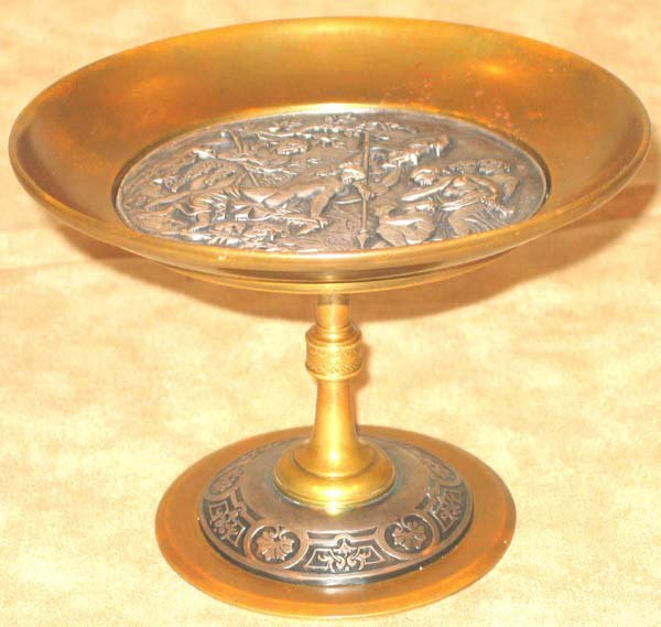 180: Antique French Bronze Sterling Compote