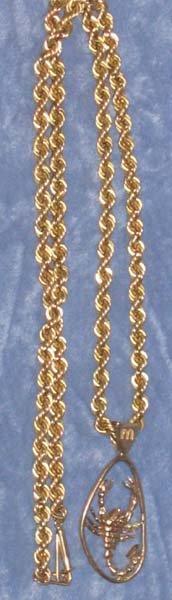 181: 14k Gold Scorpio Pendant