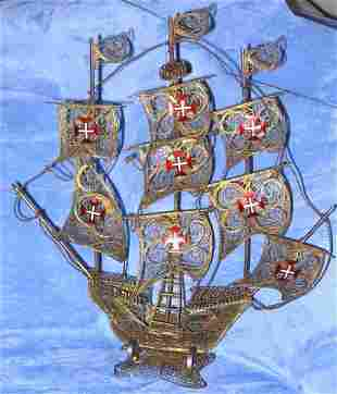 Antique Enamel Brass Spanish Galleon Ship