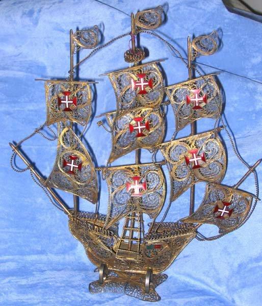 182: Antique Enamel Brass Spanish Galleon Ship