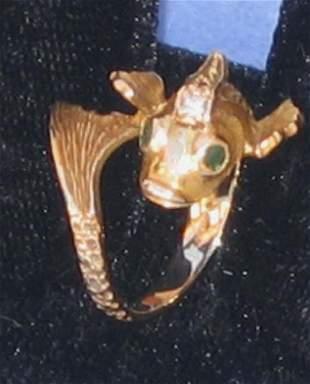 Diamond Emerald Gold Fish Ring