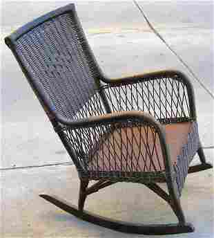 Antique Victorian Wicker Rocking Chair
