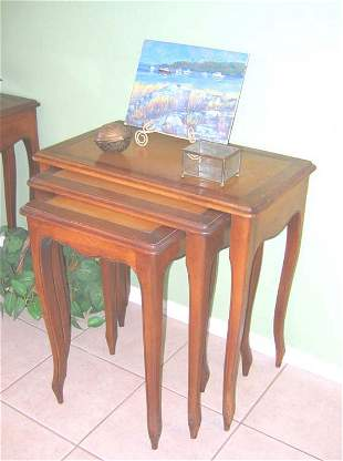 Nesting Tables Leather Top