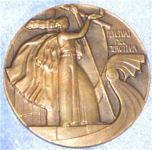 1944 French Bronze Medallion Deco