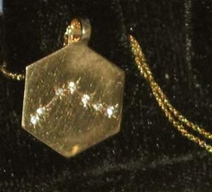 Aquarius Zodiac Diamond Gold Pendant