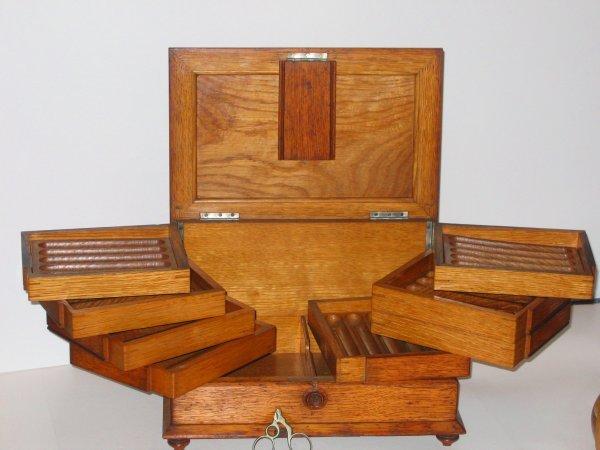 510: Victorian Oak Cigar Box Humidor