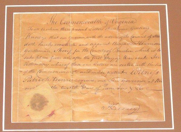 512: Patrick Henry Autograph Document