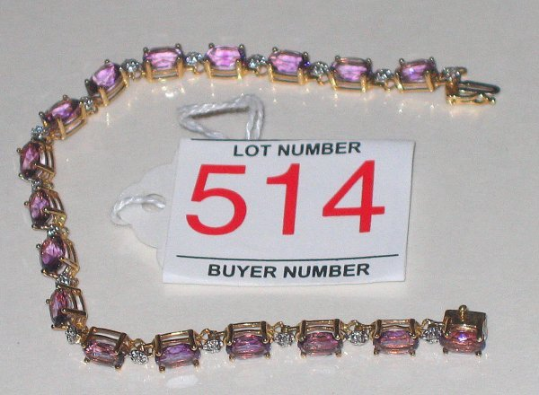514: Amethyst diamond gold bracelet