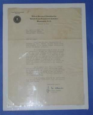 J Edgar Hoover Autograph Letter