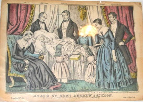 15: Andrew Jackson Deathbed Hand colored Print