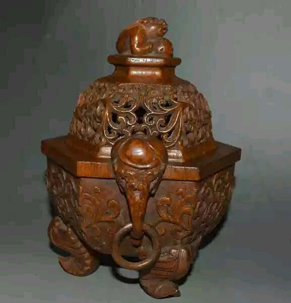 Fine Hand carved Chinese wood censer