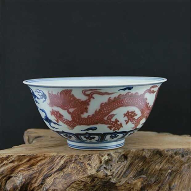 Ming dynasty style porcelain dragon bowl
