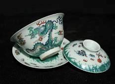 A set of multicolored porcelain teacup