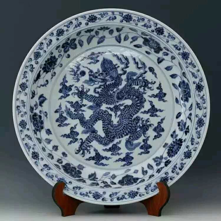 Ming dynasty style porcelain dragon charger