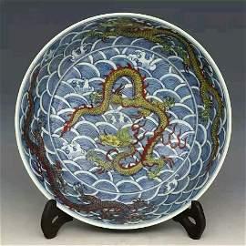 Ming dynasty style porcelain  dragon vase