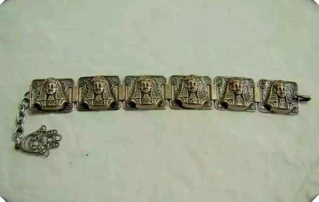 Vintage bronze Egyptian style bracelet