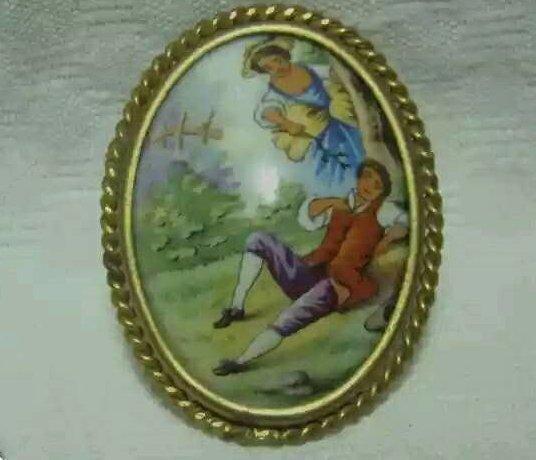 Vintage porcelain pin