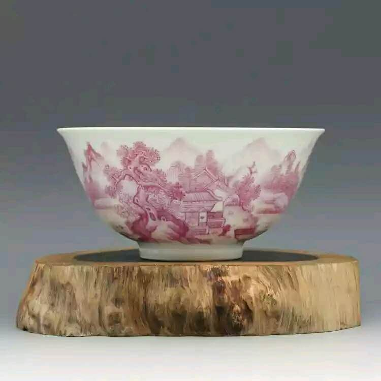 Excellent Chinese pink hand painting porcelain bowl