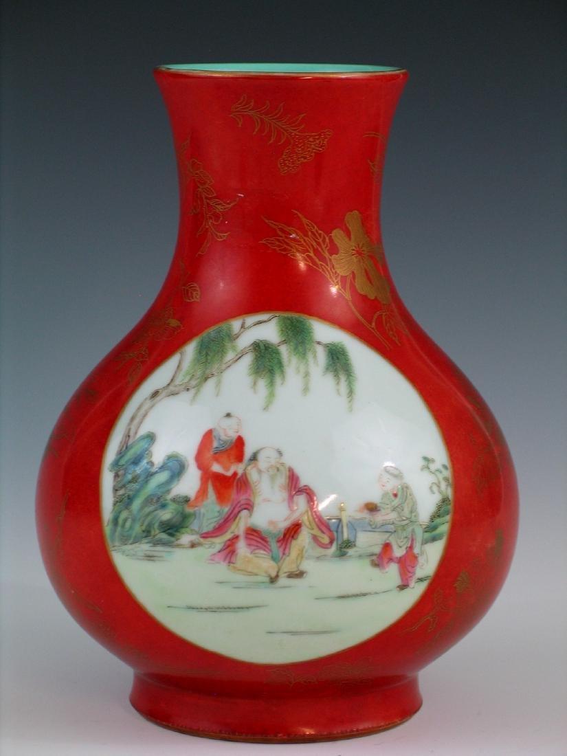 Chinese coral red glazed famille rose porcelain vase,