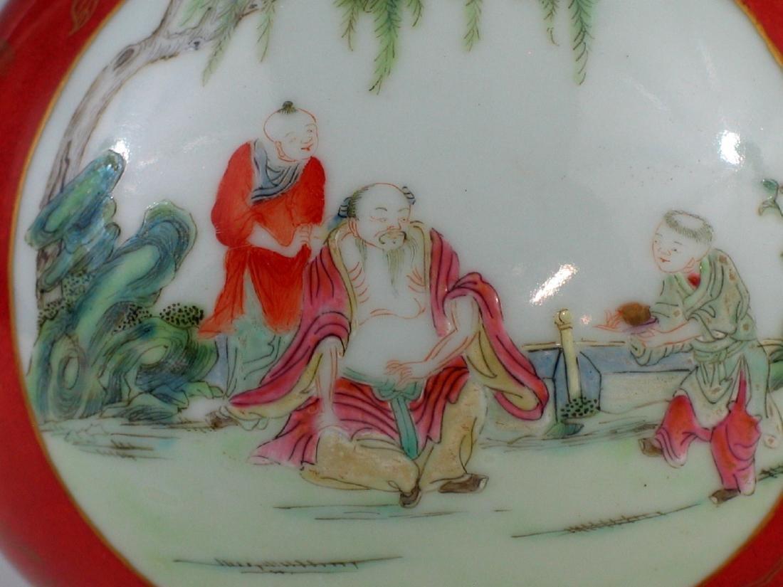 Chinese coral red glazed famille rose porcelain vase, - 2