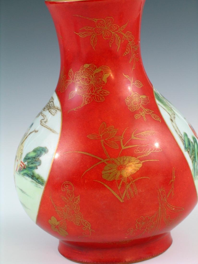 Chinese coral red glazed famille rose porcelain vase, - 3