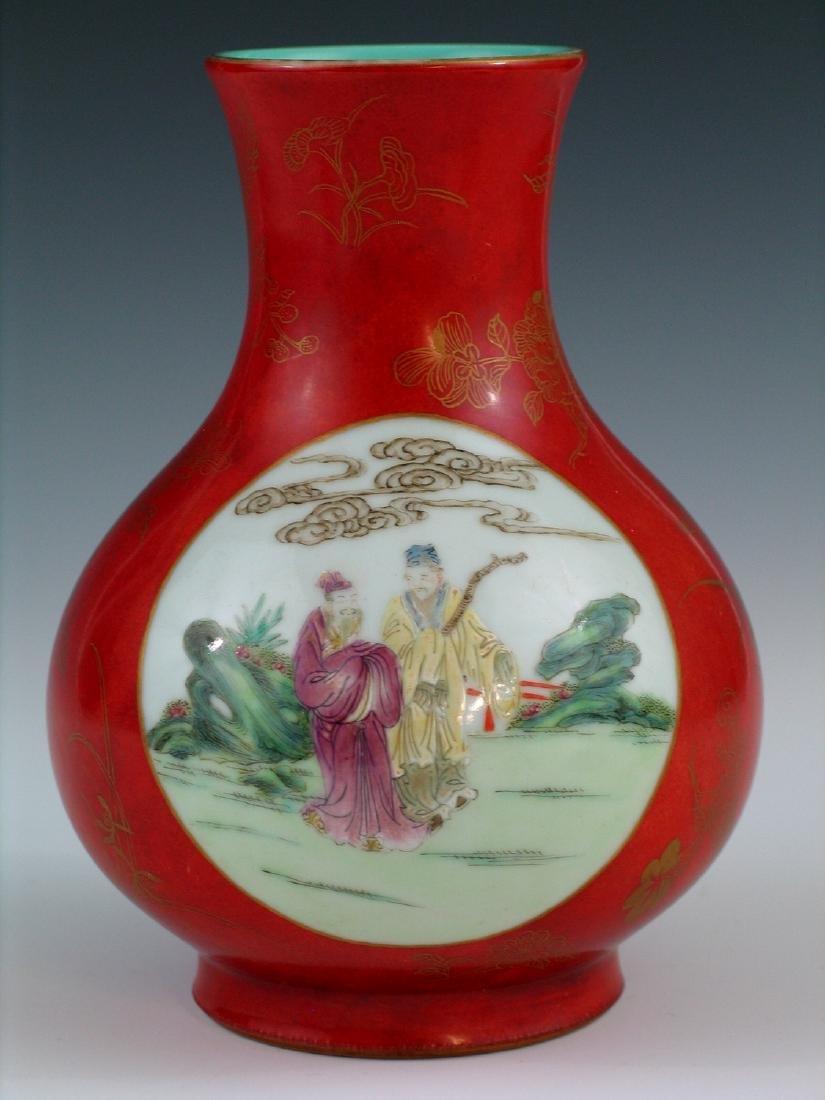Chinese coral red glazed famille rose porcelain vase, - 4