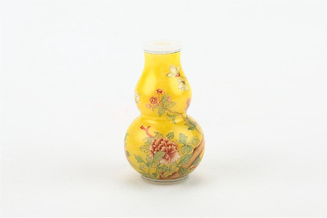 Chinese Peking Glass Double Gourd Snuff Bottle, - 4