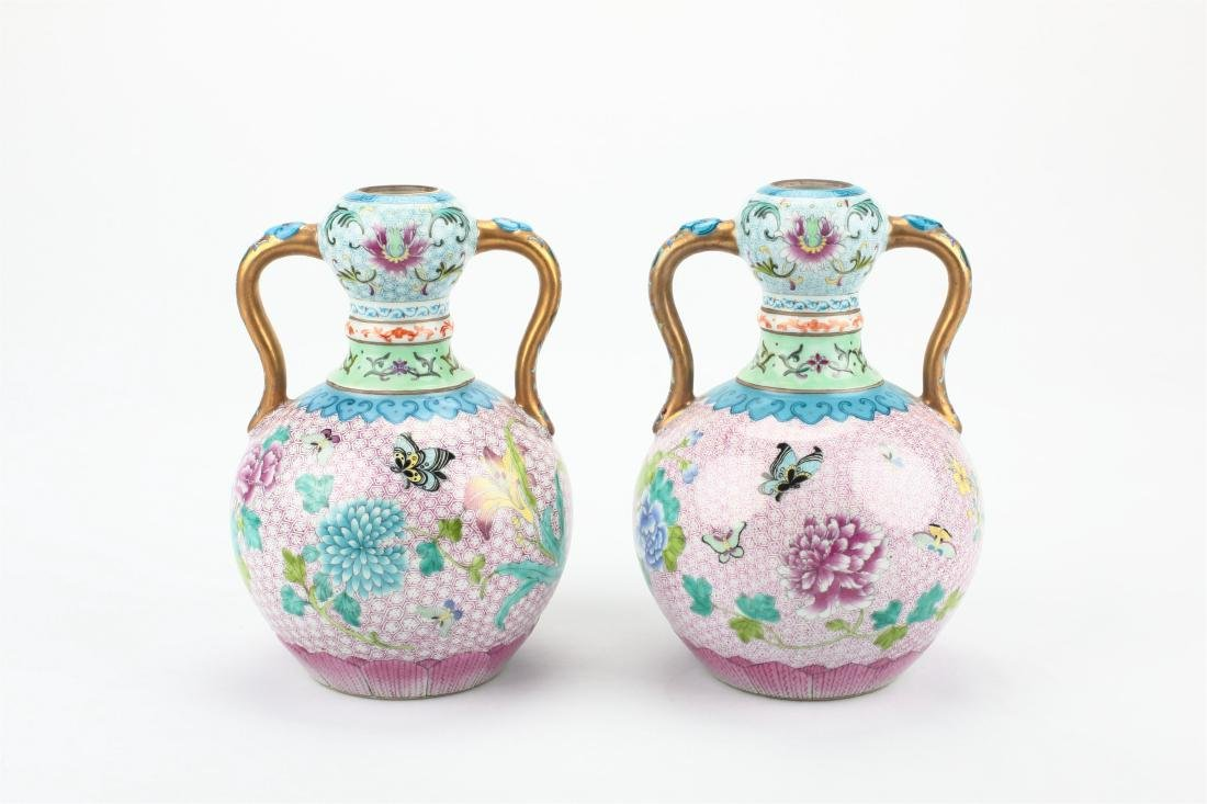 Pair Chinese famille rose porcelain vase,