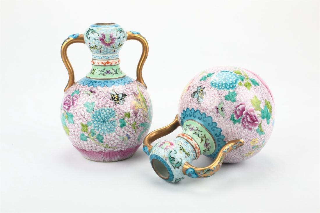 Pair Chinese famille rose porcelain vase, - 2