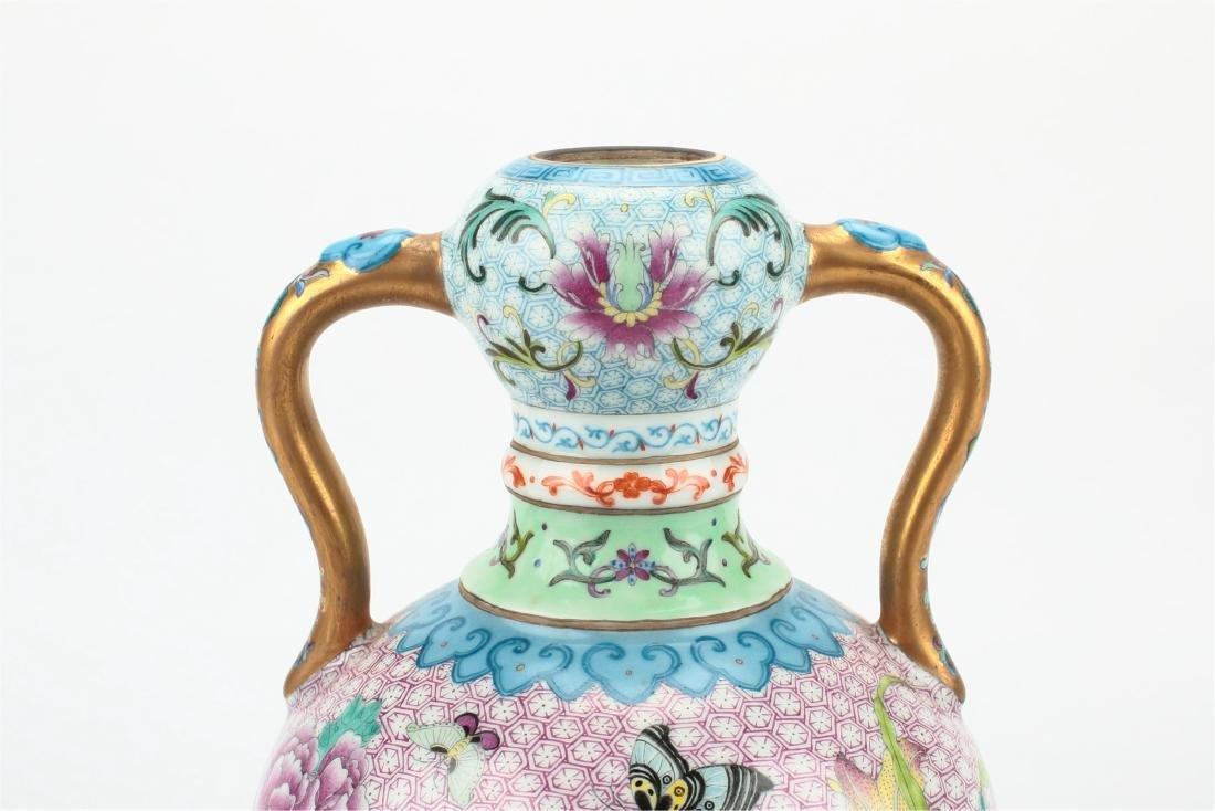 Pair Chinese famille rose porcelain vase, - 3