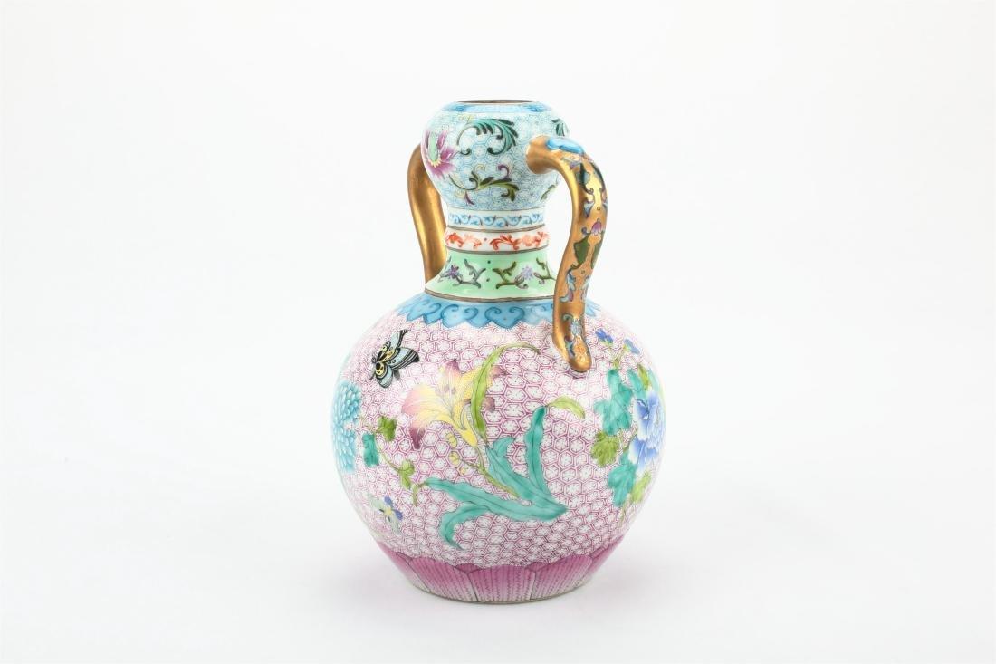 Pair Chinese famille rose porcelain vase, - 5