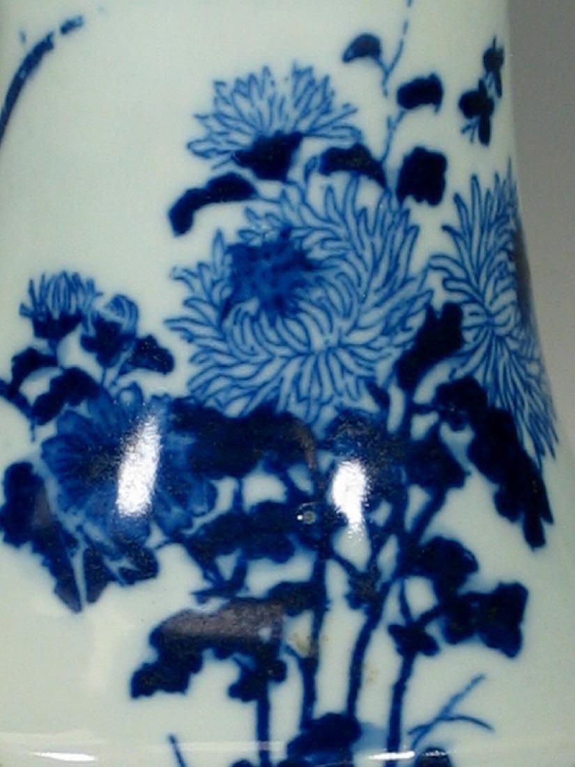 Chinese blue and white porcelain vase, Ming mark. - 5