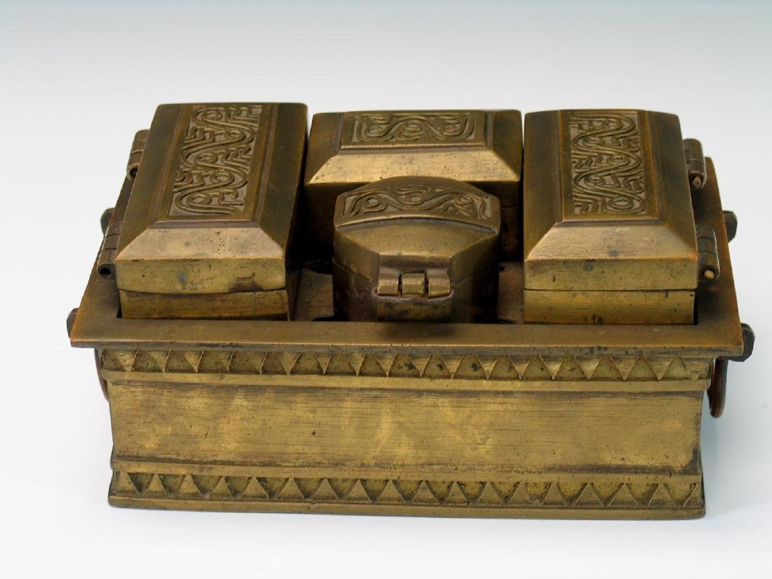 Chinese bronze opium box set.