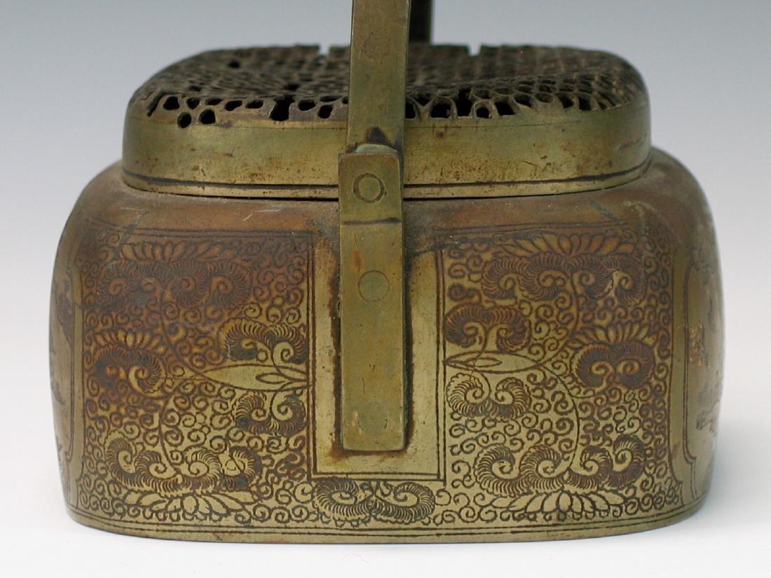 Chinese bronze hand warmer. - 4
