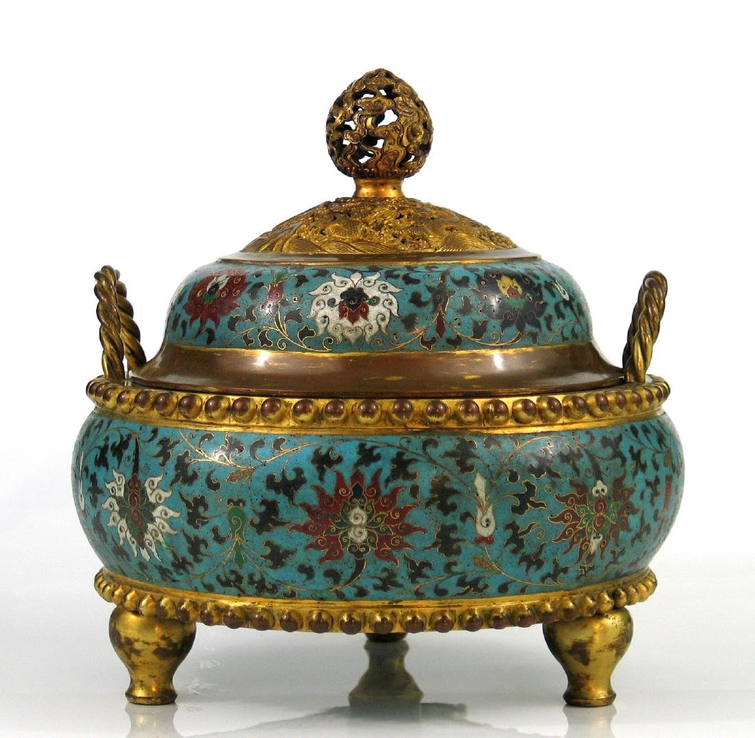 Chinese cloisonne incense burner with lid, Jingtai