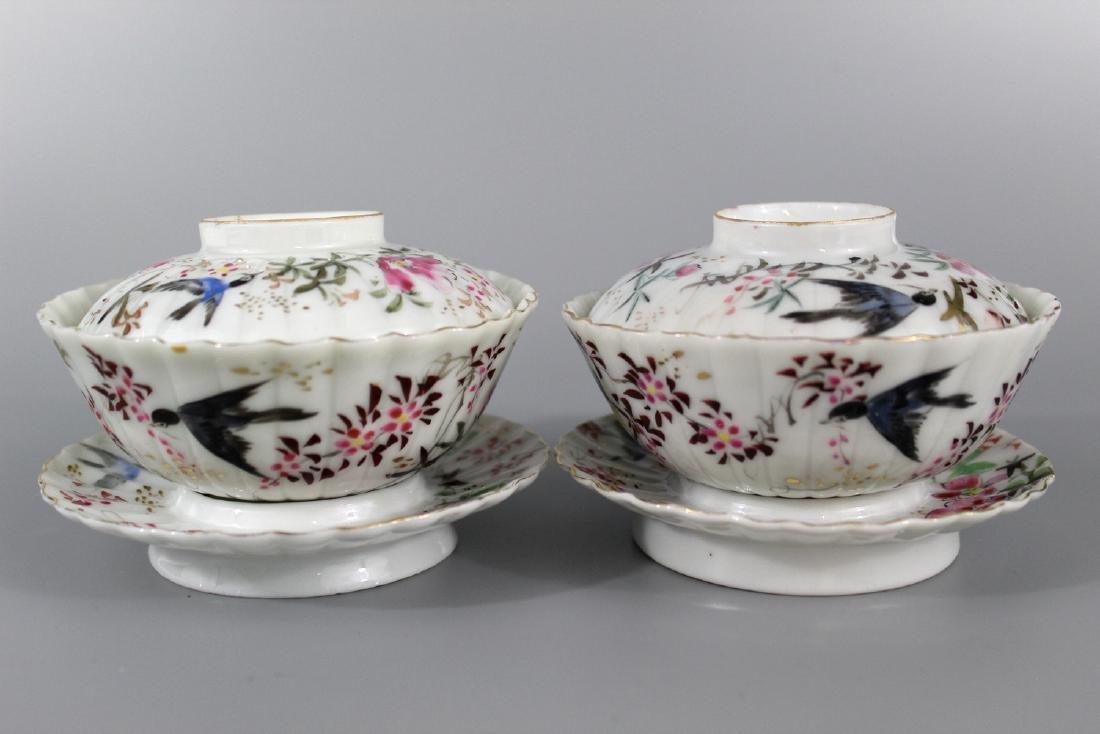 Pair Japanese hand painted porcelain tea cups.