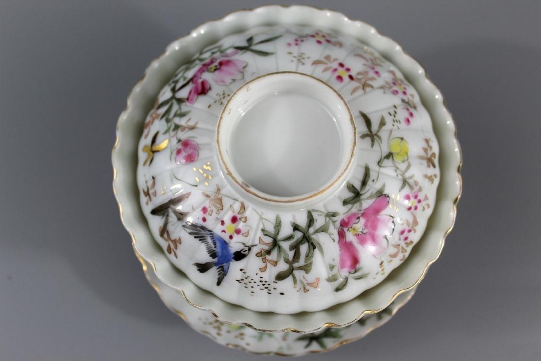 Pair Japanese hand painted porcelain tea cups. - 2