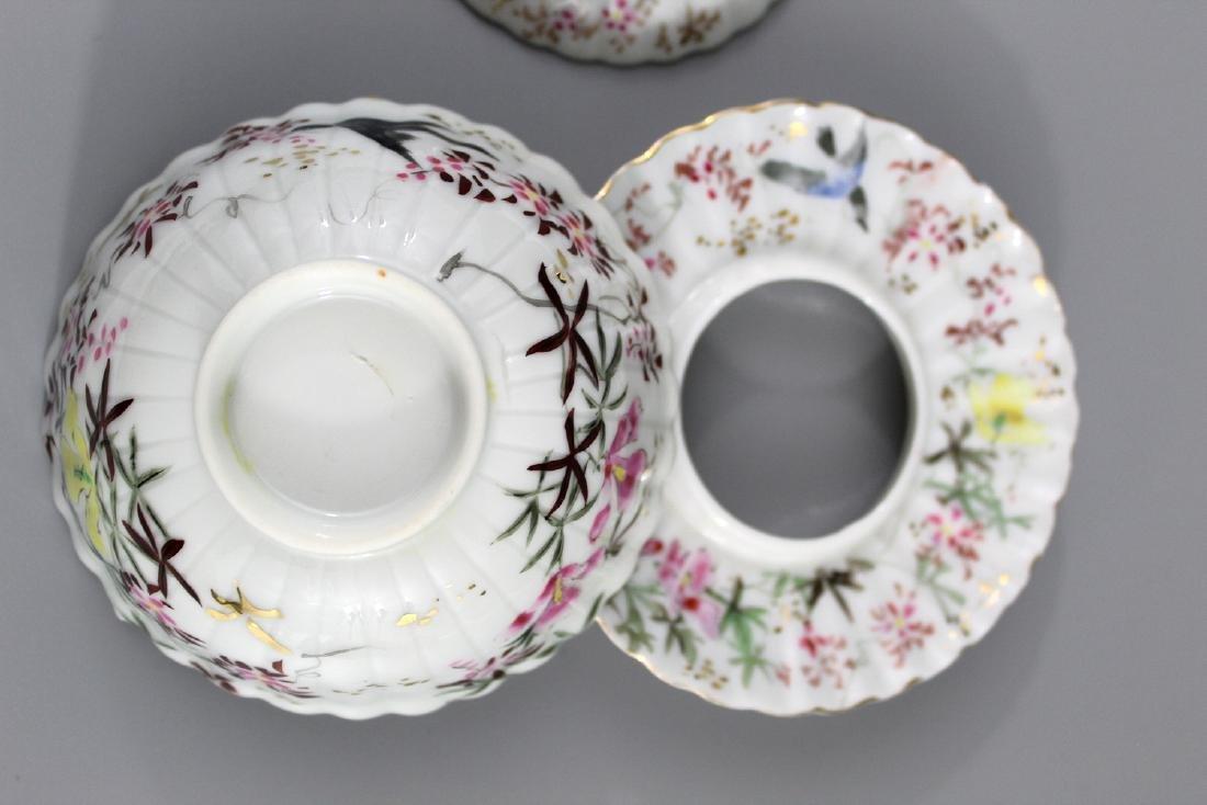 Pair Japanese hand painted porcelain tea cups. - 3