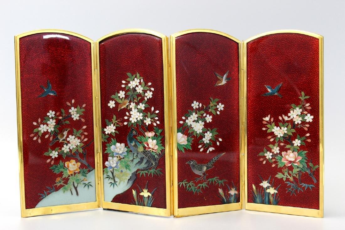 Japanese cloisonne metal table screen.