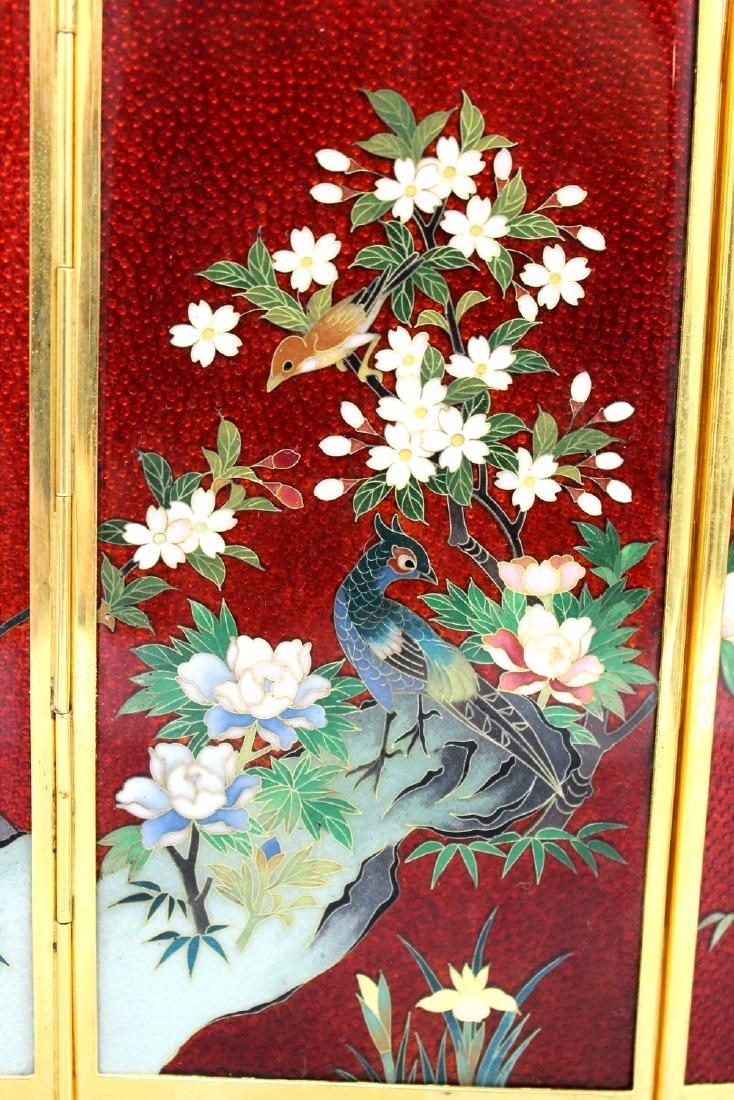 Japanese cloisonne metal table screen. - 2