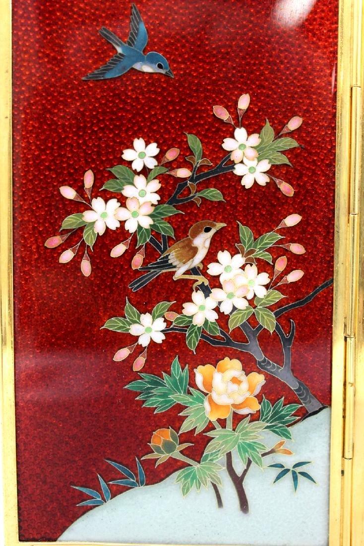 Japanese cloisonne metal table screen. - 3