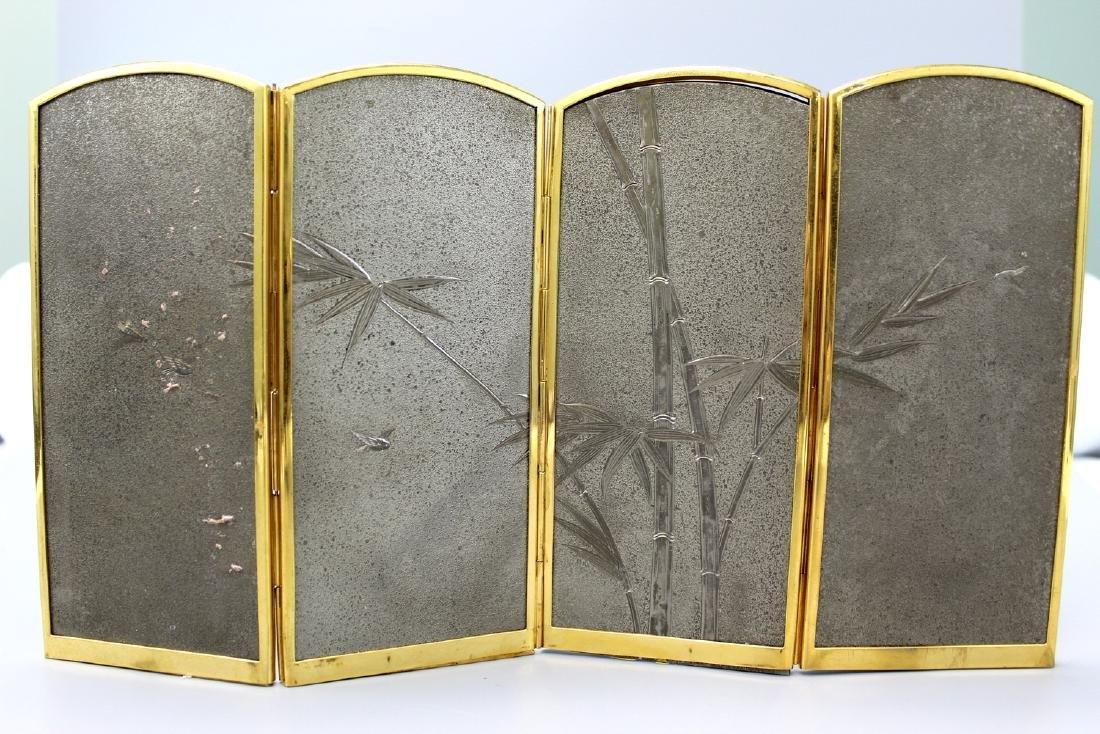 Japanese cloisonne metal table screen. - 4
