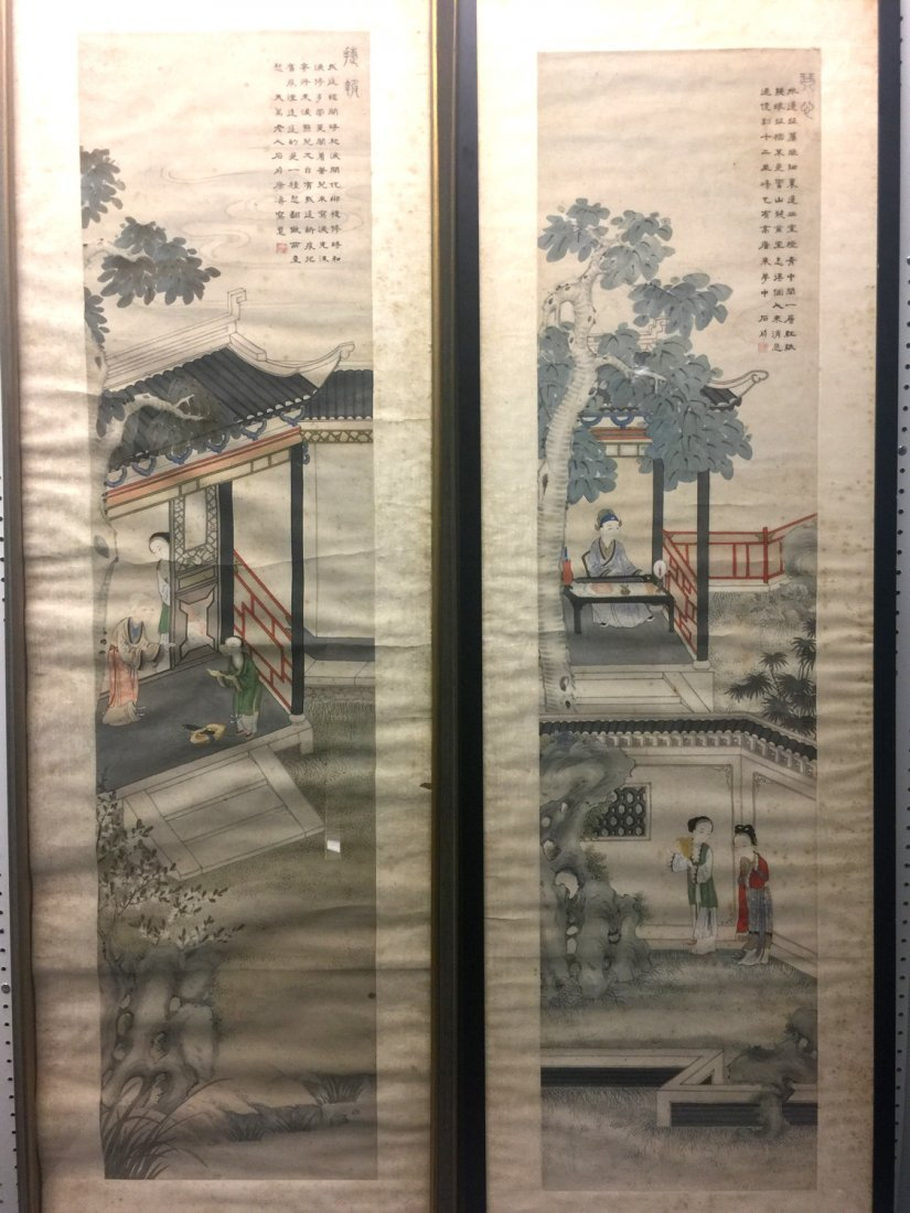 Two Chinese water color painting on paper, Signed Kang - 8