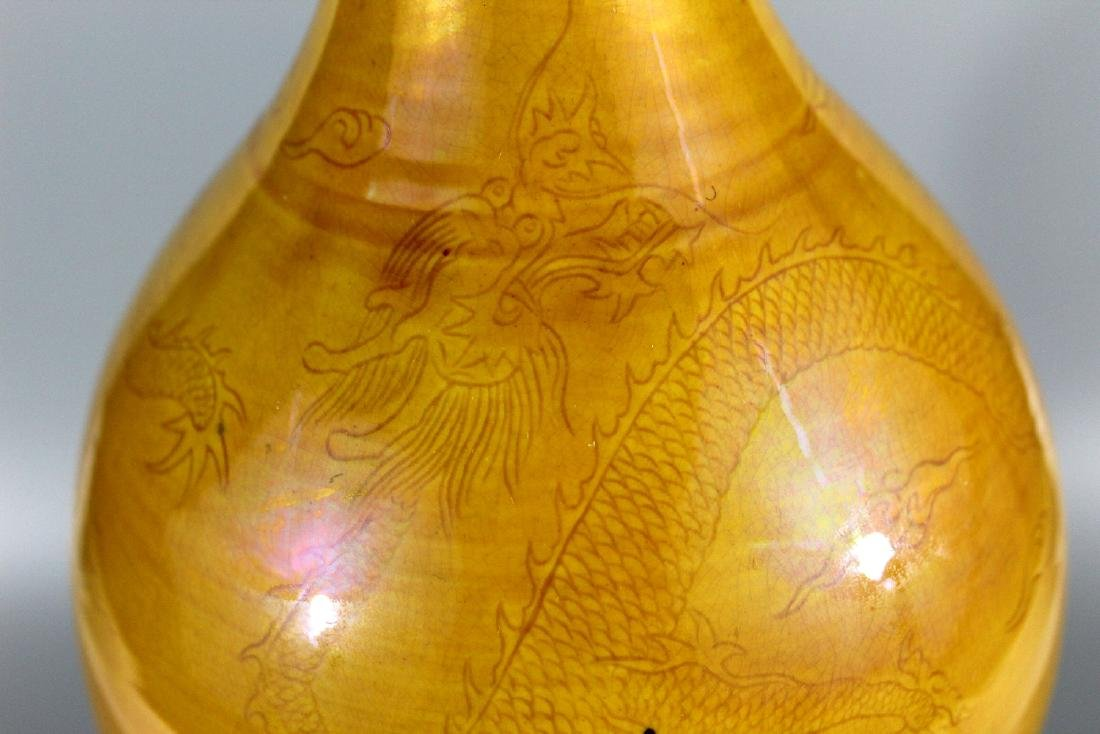 Chinese yellow glaze double gourd vase with dragon - 3