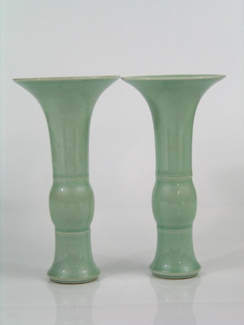 Pair Chinese celadon porcelain vases, Qianlong mark.
