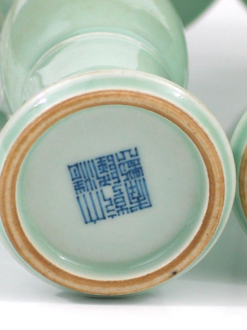 Pair Chinese celadon porcelain vases, Qianlong mark. - 4
