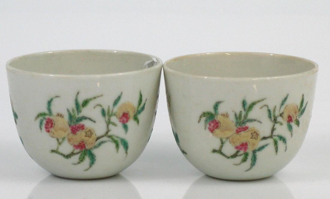 Pair Chinese famille rose porcelain cups, Qianlong