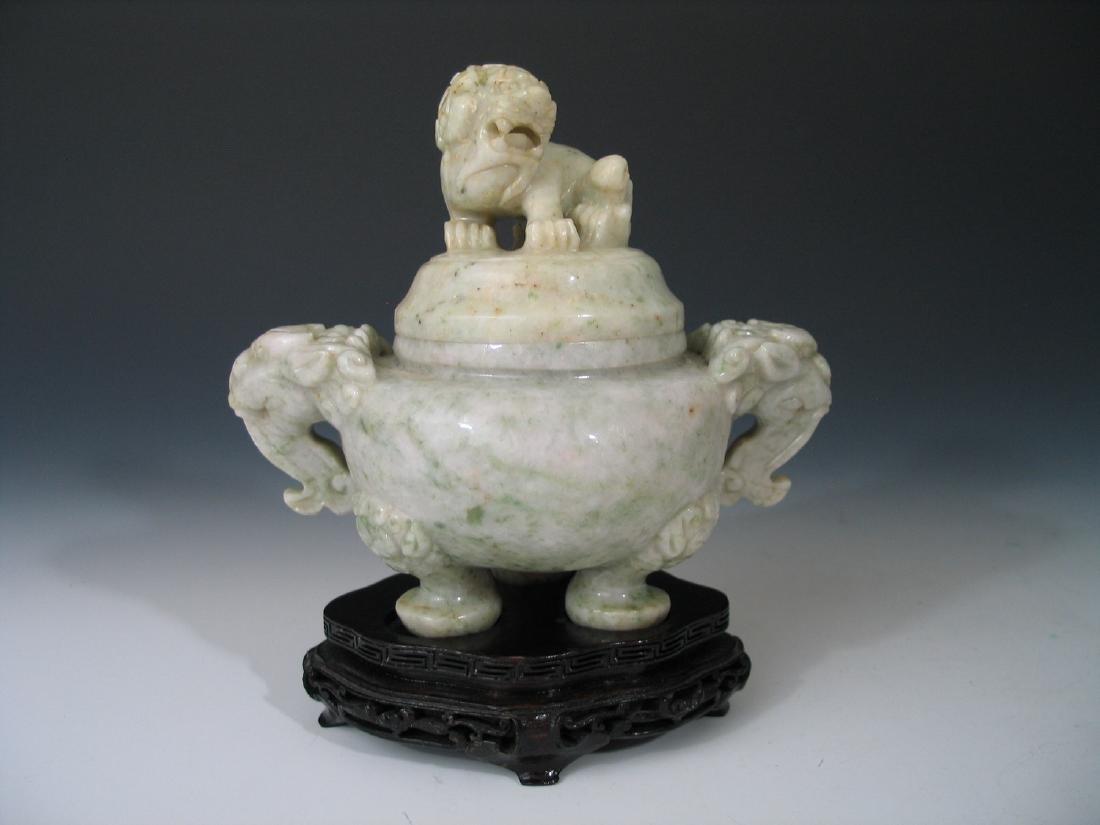 Chinese Carved Jade Incense Burner with Foo Dog Figure