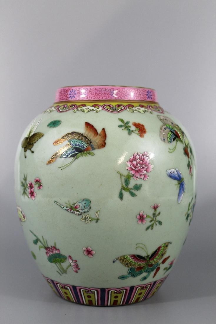 Chinese celadon glaze famille rose porcelain jar,